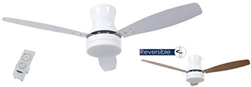 Bastilipo 7838-Mykonos Blanco Mykonos Ventilador de Techo LED con Mando a Distancia y Palas Reversibles