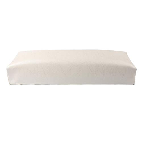 TOOGOO Manicure Main Oreiller Rectangle En Cuir Pu Repose-Mains pour Ongles Coussin Ongles Oreiller Salon Main Titulaire Accoudoir Rest Manucure Nail Art Accessoires Outil Blanc