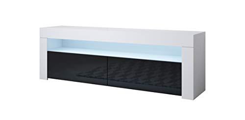 Muebles Bonitos | Mueble TV Modelo Aker | Ancho 140 x Alto 50,5 x Profundo 35 cm | Mueble de Melamina Brillo | Color Blanco y Negro
