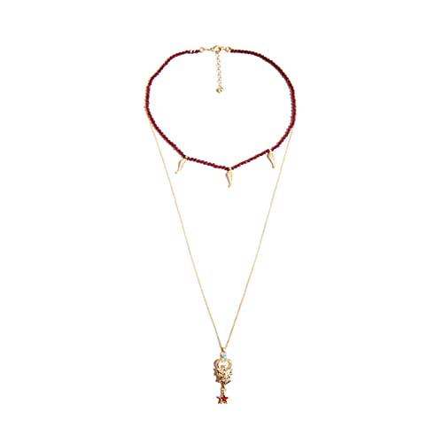 Cadena de cuentas de acrílico rojo Totem de estrella Collar en capas Collar con colgante de mujer desmontable Joyería de moda Moda clásica joyería exquisita vintage