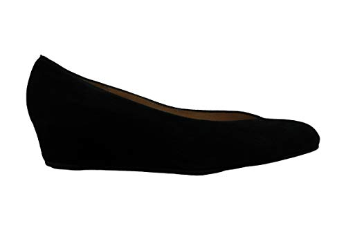 French Sole Cubic Wedge Heel Black Suede 9