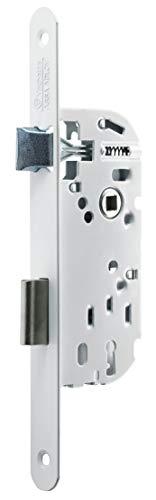Vachette modèle P15 - Serrure à Encastrer clé L pour Porte de chambre - Réversible, Blanc   Têtière Bouts Rond, Axe à 40 mm