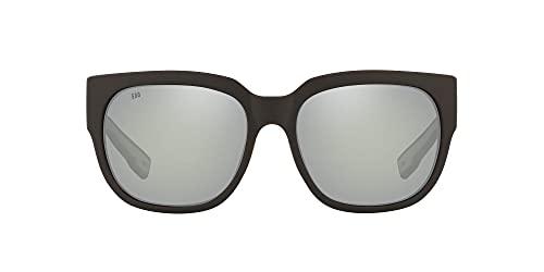 Costa Del Mar Women's Waterwoman 2 Round Sunglasses, Matte Black/Grey Silver Mirrored Polarized 580G, 58 mm