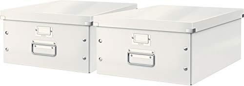 Leitz, Große Aufbewahrungs- und Transportbox, Mit Deckel, Für A3, Click & Store (Weiß | 2er Pack)