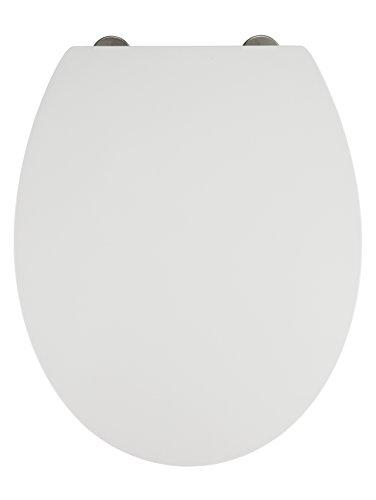WENKO Premium WC-Sitz Mora - Antibakterieller Toiletten-Sitz mit Absenkautomatik, rostfreie Fix-Clip Hygiene Edelstahlbefestigung, Duroplast, 37 x 44.5 cm, Weiß
