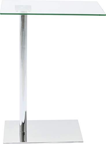 Kare Design Beistelltisch West Coast, Couchtisch mit Glasplatte, Laptoptisch in Chrom, Kaffeetisch, kleiner Arbeitstisch, Grau (H/B/T) 67x34x50cm