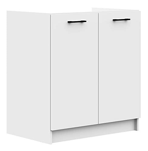 ADGO Oliwia S80ZL, szafka kuchenna, szafka stojąca, szafka pod umywalkę, do zabudowy, czarne uchwyty, biała