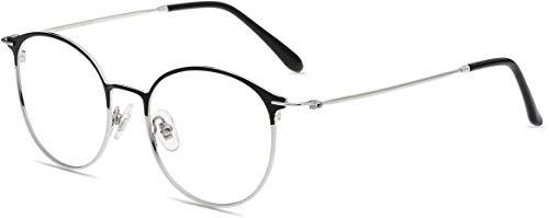 Firmoo Panto Blaulicht Brille ohne Sehstärke, Computer Brille mit Blaulichtfilter Anti Augen-/Kopfschmerzen, Blendfrei, Nerdbrille für Damen Herren, Mittel, Schwarz-Silber