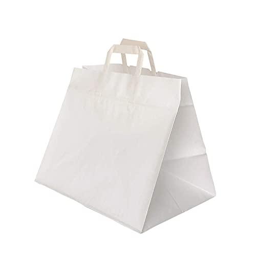 TAKE AWAY busta tipo shopper in carta bianca con maniglia piatta formato 32x22x34 - scatola da 250 pezzi - sacchetto ideale per ristoranti, asporto e