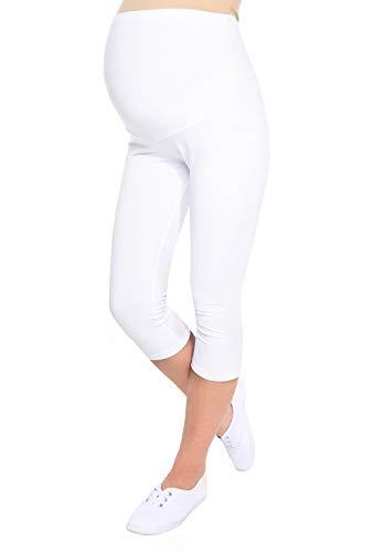 Oasi Mija Gute Qualität Umstandsleggings für Schwangere Capri 3/4 Leggings/Hose 3082 (M, Weiß)