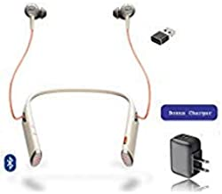 Plantronics Bluetooth Voyager 6200 UC Duo Headphone Neckband with Active Environmental Noise Canceling   Bonus AC Wall Charger Included (Sand)