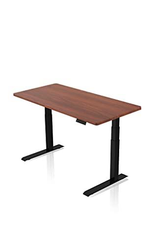 IH Engineering BV - AGIL - Elektrisch Höhenverstellbarer Schreibtisch - Schwarzes Premium Gestell & Walnussfarbene Tischplatte - Ergonomischer Schreibtisch für Kinder und Erwachsene