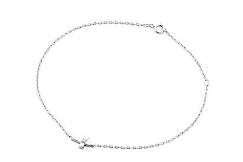 Miore Armband Damen Diamant Armband Kreuz Kette Weißgold 9 Karat / 375 Gold Elegantes Armband mit Diamant Brillant, Länge 18 cm Armschmuck