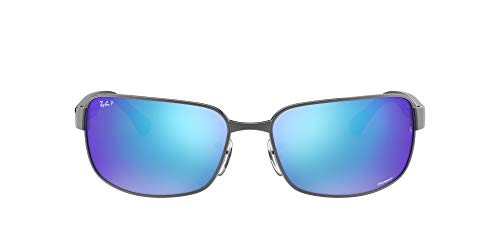 Ray-Ban RB3566CH Chromance Mirrored Rectangular Sunglasses, Gunmetal/Polarized Blue Mirror, 65 mm
