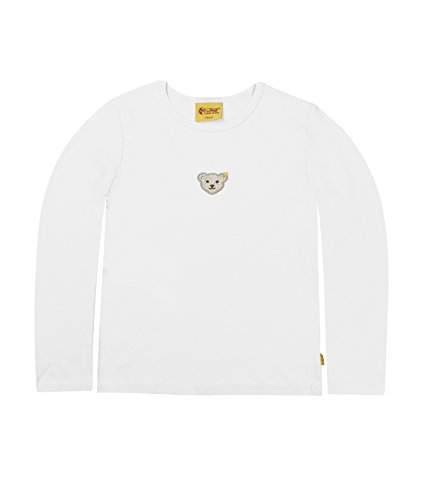 Steiff Unisex - Baby Sweatshirt 1/1 Arm, Einfarbig, Gr. 98, Weiß (Bright White White 1000)