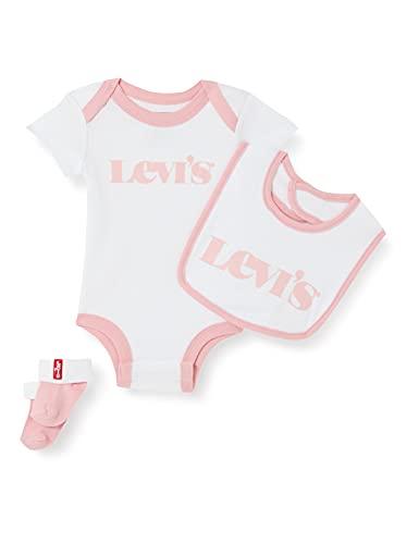 Levi's Kids NEW LOGO INFANT HAT, BODYSUIT, BOOTIE SET 3PC 0253 Canastilla para bebés y niños pequeños Peony para Bebé-Niñas