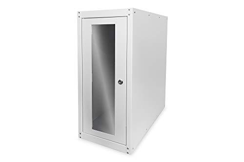 DIGITUS Professional SOHO computerbehuizing, PC-kast, afsluitbare glazen deur, incl. wielen, grijs Kast met wieltjes. grijs