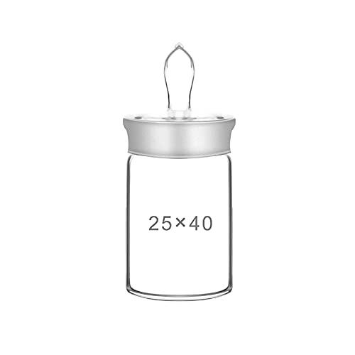 HCFSUK Botella de pesaje Alta de Laboratorio, Recipiente de pesaje de Boca esmerilada de Vidrio de borosilicato con Tapa, Resistente a la corrosión, Laboratorio, Material Escolar, 2 Piezas, 25x40 mm