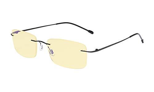Eyekepper Occhiali da Lettura per Computer Anti Luce Blu Lettori Senza Montatura Flexable per Uomini Donne Lenti Giallo Nero +0.50