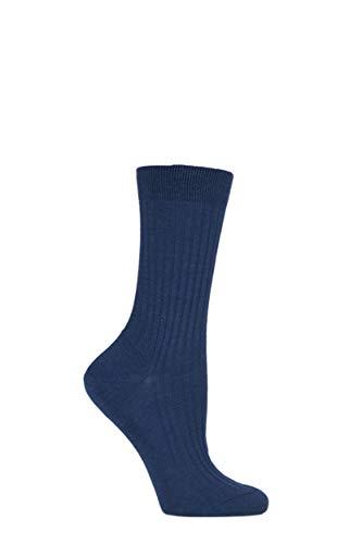 Pantherella Damen 1 Paar Klassische Merinowolle Gerippte Socken (36-41, Dunkelblau)