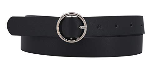 EANAGO Veganer Damengürtel aus PU, verschiedene Designs und Längen (70 cm, schwarz_glatt)