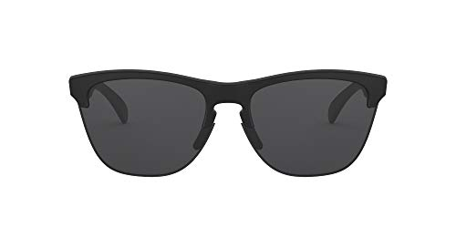 Oakley Men's OO9374 Frogskins Lite Round Sunglasses, Matte Black/Grey, 63 mm
