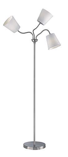 Reality Leuchten Stehleuchte Windu R40153001, Metall Nickel Matt, Stoffschirm Grau, exkl. 1xE27