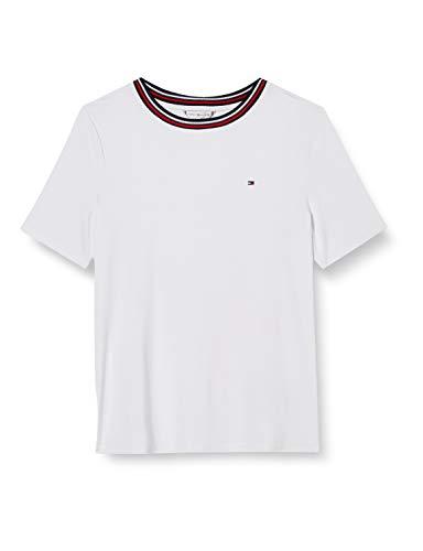 Tommy Hilfiger Damen Bree Relaxed Round-nk Top Ss Hemd, Weiß (White), M