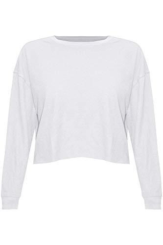 Fashion Star Womens Batwing Long Sleeve Baggy Loose Crop Top Crop Top White Small (UK 8)
