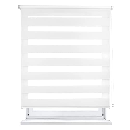 MERCURY TEXTIL Estor Enrollable de Doble Capa, Noche y Día, translúcido y oscurecido (60 x 180 cm, Blanco)