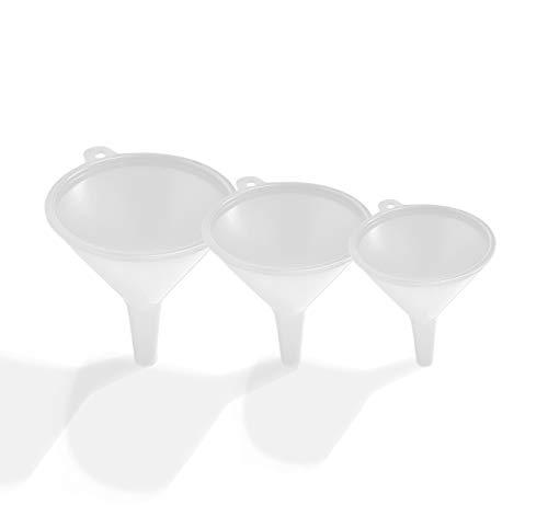 EUROXANTY® Juego de embudos | Embudos de Polipropileno | Embudos de Cocina | Embudo de Laboratorio | Embudos de perfumería | Embudos de Ø 55, 45 y 35 mm | Color Blanco