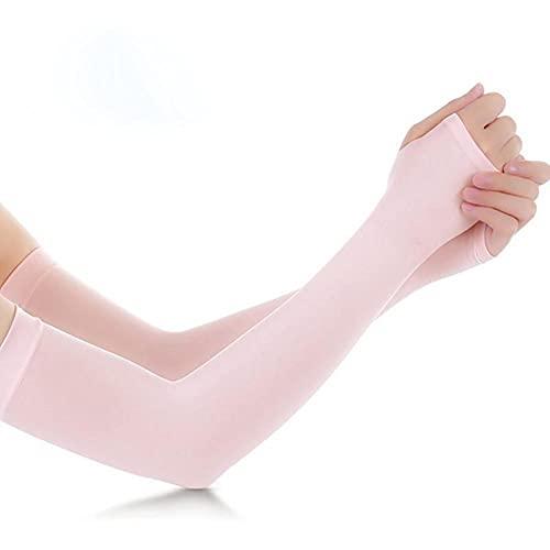 DovSnnx Mangas del Brazo para Hombre Y Mujere Anti UV Protección Manguitos UPF 50+ Antideslizantes Transpirable De Actividades Al Aire Libre Color Sólido Rosa