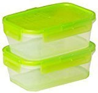 Snapware 2-Pack Airtight 2-Cup Rectangle Containers, Plastic With Green Lids