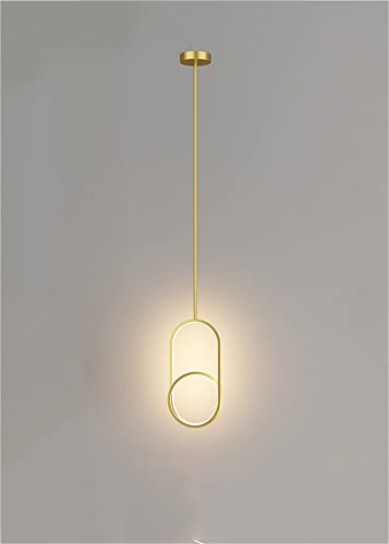 OURLOVEII Suspensión Lámpara Dormitorio Dorado Modernas,Lámpara de noche Anillo Regulable LED,Lámpara colgante Mesa De Comedor Cocina,Interior Luces decorativas 18W