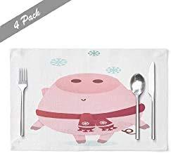 Ogden Moll Lassen Sie Es Schnee Tisch Tischsets,Hitzebeständige Tischsets Lassen Sie Es Schnee Banner Cute Piggy Character Winter Schal Gruß Farm Tischsets,4 Stück Set