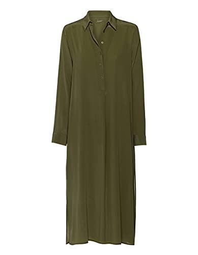 Jadicted Kleid Hemdblusenkleid Seide Khaki