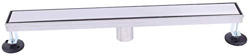 WINSOON 60 Inch Tile Insert Linear Shower Drain, include adjustable Leveling Feet, Hair Strainer, Brushed 304 Stainless Steel Long Rectangle Shower Floor Drain liner