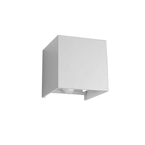 Klighten Lámpara de pared para exteriores de 12W, con detector de movimiento, auto encender y apagar, para jardín, camino, Blanco natural, Blanco