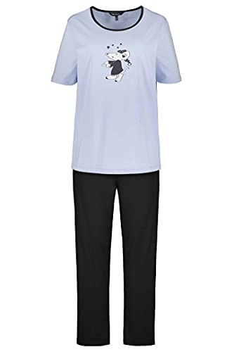 Ulla Popken Damen Pyjama, Maus Pyjamaset, zartes hellblau, 54+
