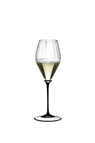 Copa de vino Riedel Fatto A Mano Performance Riesling, vidrio, Black Stem, 13 oz