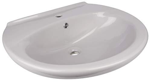 Calmwaters® - 65 cm großes Waschbecken in Manhattan-Grau aus Keramik in runder Form zur Wandmontage - 05AB2300