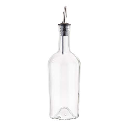 Glass Syrup Bottle with Vented Stainless Steel Pourer - 500ml