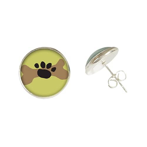 Pendientes coloridos con diseño de huella de huella de animal doméstico, cabujón de cristal, diseño de huella de perro, gato, pendiente