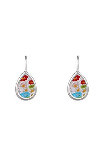 Córdoba Jewels   Pendientes en Plata de ley 925 diseño Lágrima Hippie Murano Colors Silver