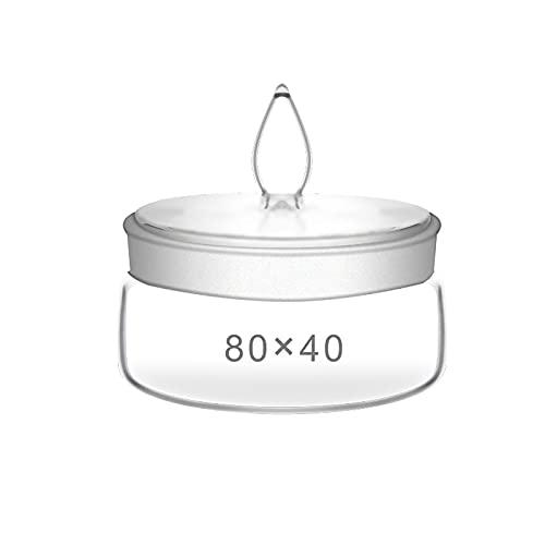 RWQRWQ Botella De Pesaje Plana, Recipiente De Pesaje De Vidrio con Boca Esmerilada, Resistente A La CorrosióN, Suministros De Laboratorio, 2 Piezas,80x40mm