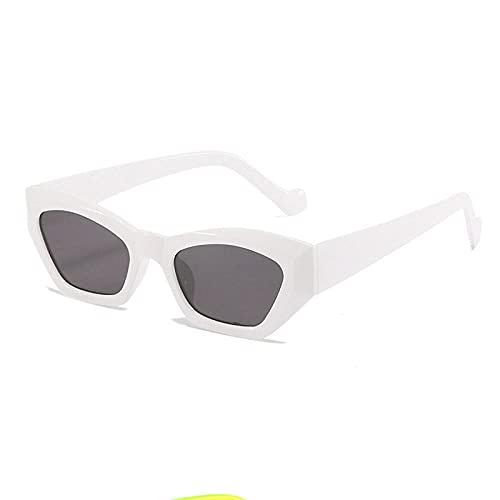 WQZYY&ASDCD Gafas de Sol Gafas De Sol De Ojo De Gato para Mujer, Gafas De Sol A La Moda, Gafas De Sol, Gafas para Mujer, Montura Pequeña-Blanco