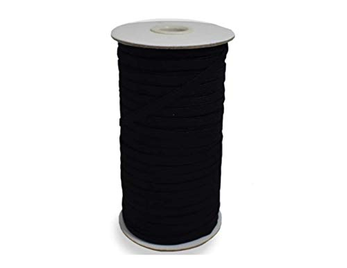 Elastic Cord for Masks and Sewing, 100 Yards, ¼ Inch Stretch Band, White Flat Braided String with High Elasticity and Soft Fabric, 6mm Wide Elastic for Face Masks, Waistband, Clothes, and More (Black)