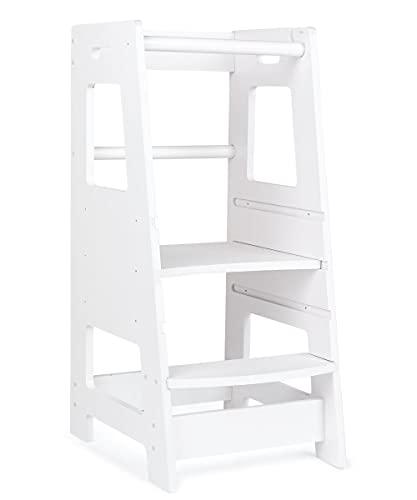 KidzWerks Child Standing Tower - White Child Kitchen Step Stool with Adjustable Standing Platform - Wooden Montessori Standing Tower for Toddlers - Kid's Kitchen Step Stool