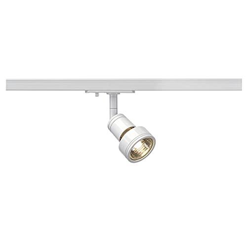 SLV LED Schienen-Strahler PURI   Dreh- und schwenkbarer 1-Phasen-Strahler, LED Spot, Deckenstrahler, Deckenleuchte, Schienensystem, Innenbeleuchtung, 1P-Lampe   GU10 QPAR51, weiß