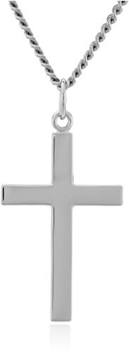 """Men's Sterling Silver Solid Polished Cross with Lord's Prayer Inscription and Stainless Steel Chain, 24"""""""